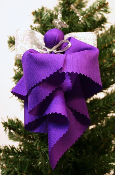 Purple Handkerchief Angel hanging on tree
