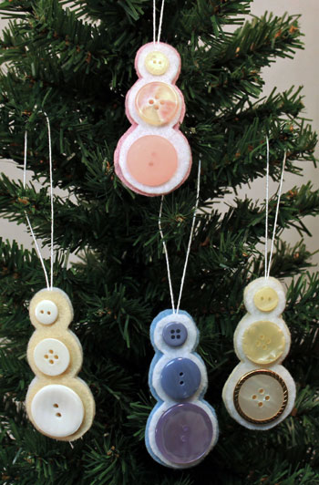 Four Finished Button Snowman Ornaments