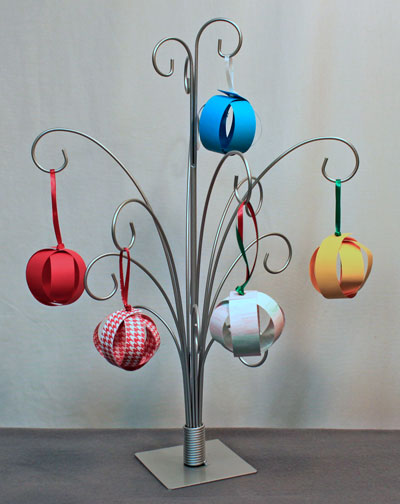 Christmas ornaments - paper sphere ornaments on an ornament tree