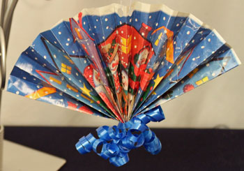 Easy Christmas Crafts Construction Paper Fan Ornament blue wrapping paper