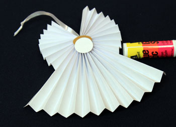 Easy Angel Crafts Accordian Folded Paper Angel Ornament Step 13 glue face into body