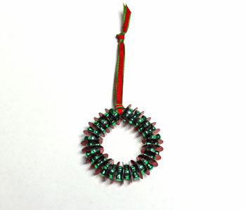 Bead and Sequin Wreath Ornament step 8 form circle