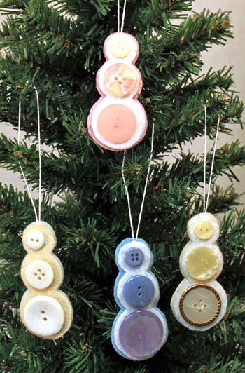 Easy Christmas crafts Button Snowman Ornament four finished