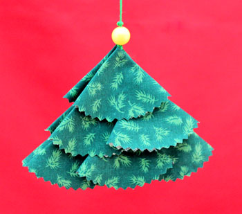 Calico Semi Circles Christmas Tree step 14 hanging to display the front