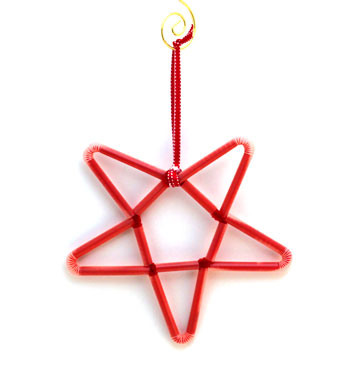 Chenille Wire and Straw Star step 20 hang to display