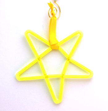 Chenille Wire and Straw Star yellow finished on display