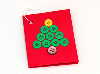 Christmas Tree Gift Tag finished with green buttons