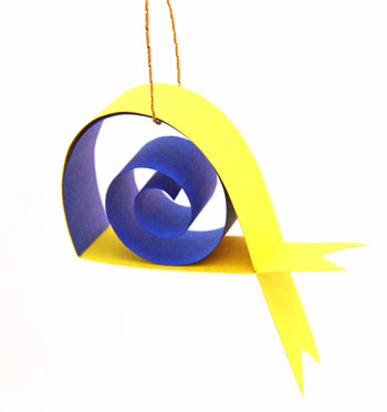 Construction Paper Fish yellow step 8 hang to display