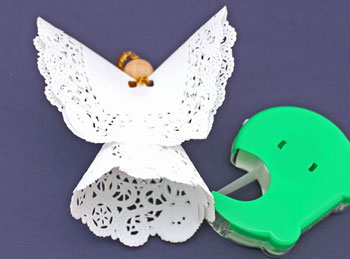 Easy Angel Crafts Doily Paper Angel step 15 position wings over back seam