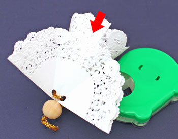 Easy Angel Crafts Doily Paper Angel step 16 tape wings to cone