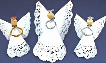 Easy Angel Crafts Doily Paper Angel three finished standing horizontally