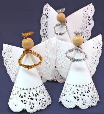 Easy Angel Crafts Doily Paper Angel group of three angels