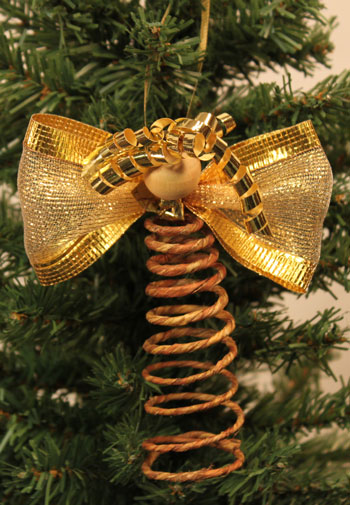Easy Angel Crafts Spiral Wire Angel Ornament finished and hanging on tree