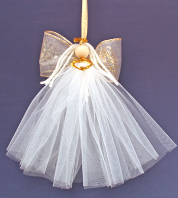 Easy Angel Crafts Tulle Angel hanging in all of her glory
