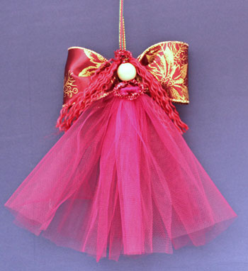 Easy Angel Crafts Tulle Angel red version hanging as decoration