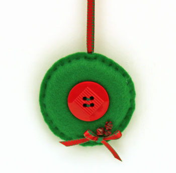Easy Christmas Crafts Button Wreath Ornament hanging as a deoration
