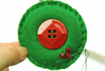 Easy Christmas Crafts Button Wreath Ornament step 12 add other two beads