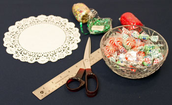 Easy Christmas Crafts Paper Doily Cone Ornament materials and tools