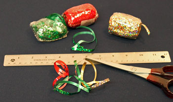 Easy Christmas Crafts Paper Doily Cone Ornament step 1 cut the four ribbon lengths
