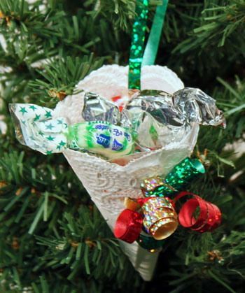 Easy Christmas Crafts Paper Doily Cone Ornament step 11 hang on tree