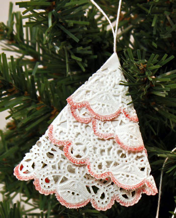 Easy Christmas Crafts Paper Doily Folded Christmas Tree Ornament step 10 hang on tree
