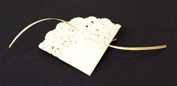 Easy Christmas Crafts Paper Doily Greeting Card Ornament step 9 thread second ribbon through back of doily