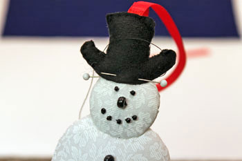 Easy Christmas Crafts Snowman step 19 pin and sew hat front to snowman's head