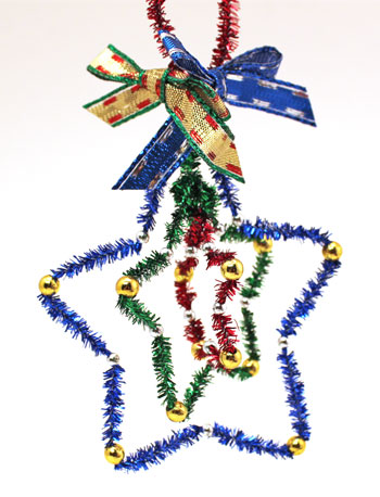 Easy Christmas Crafts Three Stars Chenille Ornament metallic version with beads hanging on display