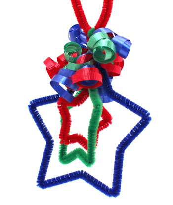 Easy Christmas Crafts Three Stars Chenille Ornament finished and hanging as decoration