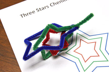 Easy Christmas Crafts Three Stars Chenille Ornament step 12 connect red, green and blue stars