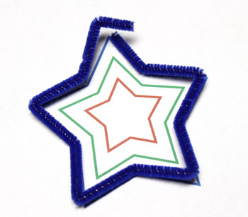 Easy Christmas Crafts Three Stars Chenille Ornament step 2 follow template to bend blue wire into large star shape