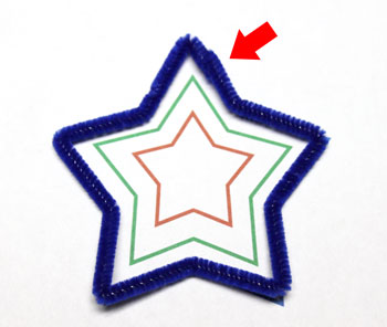 Easy Christmas Crafts Three Stars Chenille Ornament step 3 crimp wires to close blue star shape