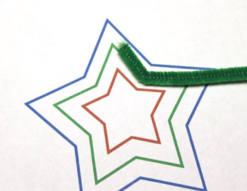 Easy Christmas Crafts Three Stars Chenille Ornament step 5 make first bend in green chenille wire