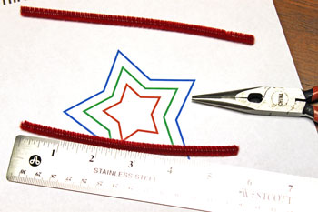 Easy Christmas Crafts Three Stars Chenille Ornament step 7 cut red wire