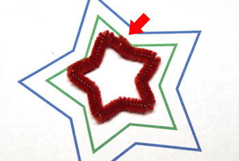 Easy Christmas Crafts Three Stars Chenille Ornament step 9 crimp wire to close red star