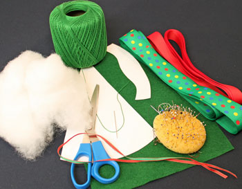 Easy Christmas Crafts Woven Ribbon Christmas Tree Door Hanger materials and tools