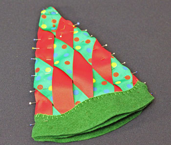 Easy Christmas Crafts Woven Ribbon Christmas Tree Door Hanger step 15 pin front to back