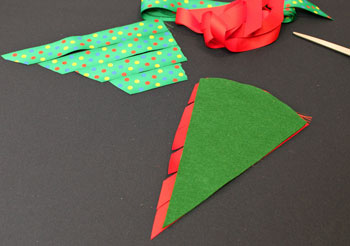 Easy Christmas Crafts Woven Ribbon Christmas Tree Door Hanger step 5 cut pieces of second ribbon
