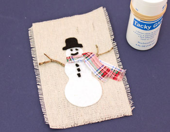 Easy Christmas Crafts Felt and Twig Snowman step 10 glue hat