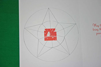 Easy Christmas crafts five point star draw star on back of image