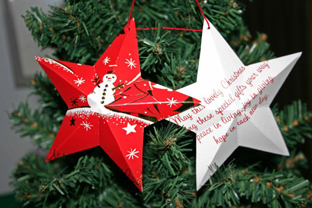 Easy Christmas crafts five point star snowman card hanging on tree