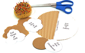 Easy Felt Crafts Cupcake Paperweight step 2 cut fabric, felt and cardboard pieces