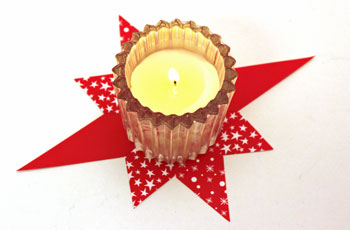 Easy Paper Crafts 8 Point Star red and white with a white votive candle
