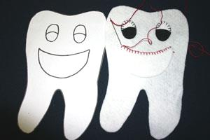 Easy felt crafts tooth pillow position mouth