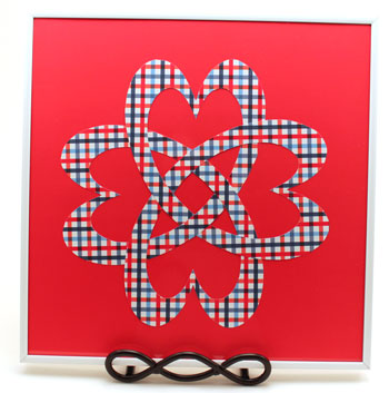 Easy Paper Crafts Celtic Designs Celtic Heart Knot white framed red, white and blue plaid design