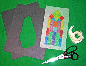 Easy paper crafts faux stained glass cut out construction paper