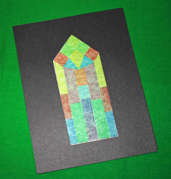Easy paper crafts faux stained glass window between frames