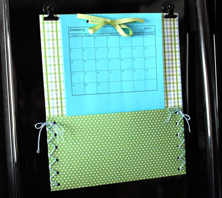 Easy paper crafts pocket calendar hanging on refrigerator door