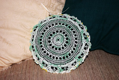 Frugal fun crafts doily pillow finished green