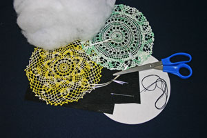 Frugal fun crafts doily pillow materials and tools